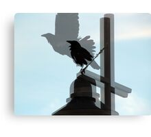 Collage of Black Crows on Light Pole Canvas Print
