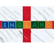 england and flag in toy block letters Photographic Print