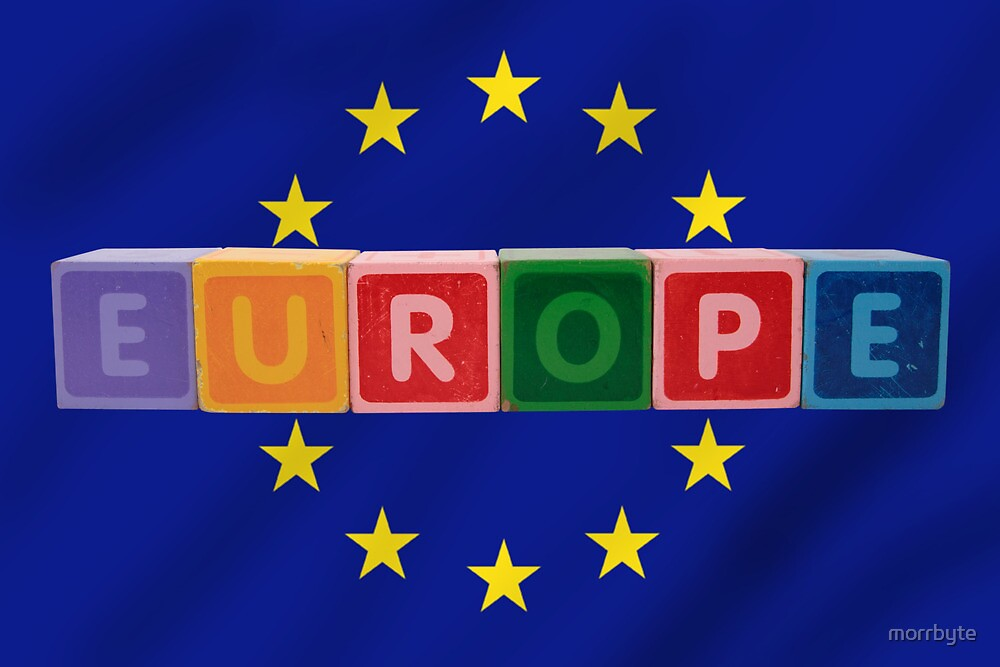 europe and flag in toy letters by morrbyte