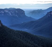 Blue Mountains Blue - Grose Valley NSW Australia by Bev Woodman