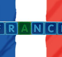 france and flag in toy block letters by morrbyte