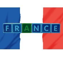 france and flag in toy block letters Photographic Print