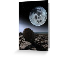 full moon and boulders in rocky burren landscape Greeting Card
