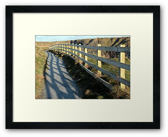 graphic cliff edge fence shadows by morrbyte