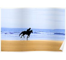 horse and rider silhouette galloping along coast Poster