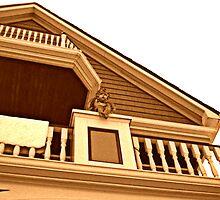 Cherub On Balcony of Victorian House, Ocean Grove, NJ [sepia] by Jane Neill-Hancock