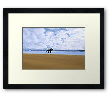 horse riding on kerry shore Framed Print