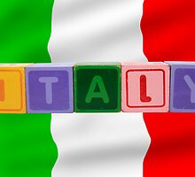 italy and flag in toy block letters by morrbyte