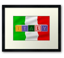 italy and flag in toy block letters Framed Print