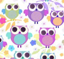 owls & blossoms Sticker