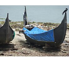 Boats and bird basking in blue Photographic Print