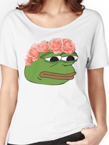 Flower Crown Pepe Frog Women's Relaxed Fit T-Shirt