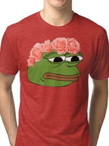 Flower Crown Pepe Frog Tri-blend T-Shirt