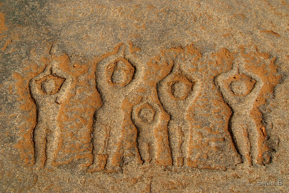 Carved Figures in the Rock Hampi by SerenaB