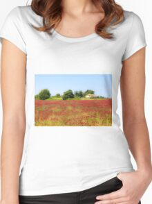 A field of common sainfoin (Onobrychis viciifolia) Photographed in Tuscany, Italy  Women's Fitted Scoop T-Shirt