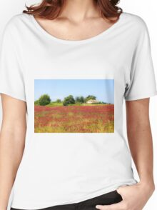 A field of common sainfoin (Onobrychis viciifolia) Photographed in Tuscany, Italy  Women's Relaxed Fit T-Shirt