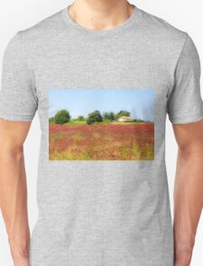 A field of common sainfoin (Onobrychis viciifolia) Photographed in Tuscany, Italy  T-Shirt