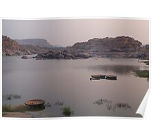 Coracles on the Tungabhadra River Poster