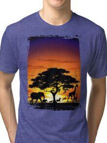 Wild Animals on African Savanna Sunset  Tri-blend T-Shirt