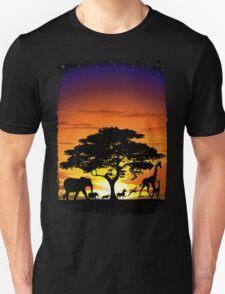 Wild Animals on African Savanna Sunset  T-Shirt