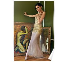 Pretty woman in vintage long gown posing  Poster
