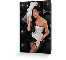 Portrait of sexy topless young lady in V shape corset and black lingerie Greeting Card