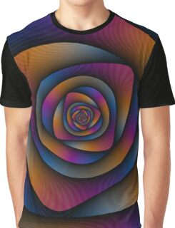 Spiral Labyrinth in Blue Orange and Pink Graphic T-Shirt