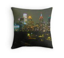 Philadelphia Skyline Panorama - Photo Throw Pillow