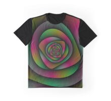 Spiral Labyrinth in Green Pink and Purple Graphic T-Shirt