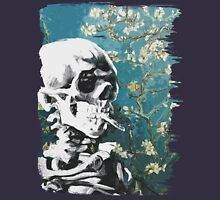 Skull with burning cigarette on cherry blossom Women's Tank Top