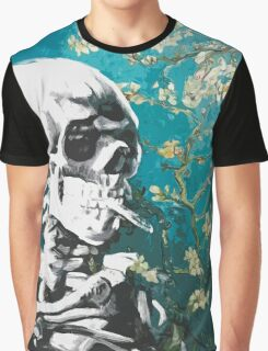 Skull with burning cigarette on cherry blossom Graphic T-Shirt