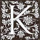 """Art Nouveau """"K"""" (William Morris Inspired) by Donna Huntriss"""