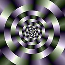 Concentric Circles in Green and Purple by Objowl