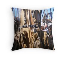 Tall Ship Rigging and Ropes Throw Pillow