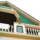 Cherub On Balcony of Victorian Painted House, Ocean Grove, NJ by Jane Neill-Hancock