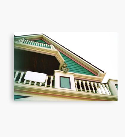 Cherub On Balcony of Victorian Painted House, Ocean Grove, NJ Canvas Print