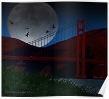 Pelicans over the Golden Gate Poster