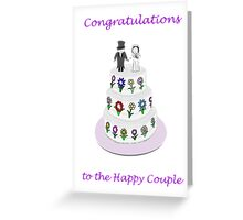Happy Couple on wedding cake with happy flowers Greeting Card