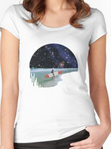 Surfer on Horizon Women's Fitted Scoop T-Shirt