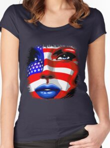 Usa Flag on Girl's Face Women's Fitted Scoop T-Shirt
