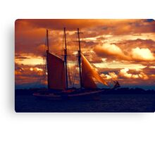 Tallship - Moody Blues and Powerful Oranges Canvas Print