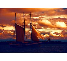 Tallship - Moody Blues and Powerful Oranges Photographic Print