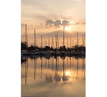 Pale Gold Sunrise With Yachts  Photographic Print