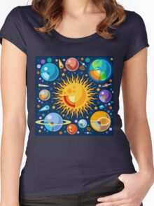 Solar System Infographics Women's Fitted Scoop T-Shirt