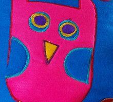 A cute colourful whimsical owl by Sarah Dawson-Spackman