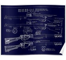 303  Lee Enfield Rifle Blueprint (Dark blue) Poster