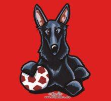 Black German Shepherd Soccer Fan Kids Clothes