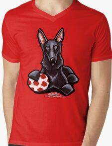 Black German Shepherd Soccer Fan Mens V-Neck T-Shirt
