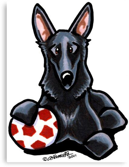 Black German Shepherd Soccer Fan by offleashart
