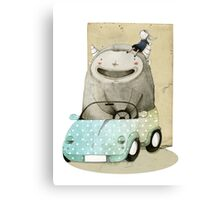 Monster In A Car Canvas Print